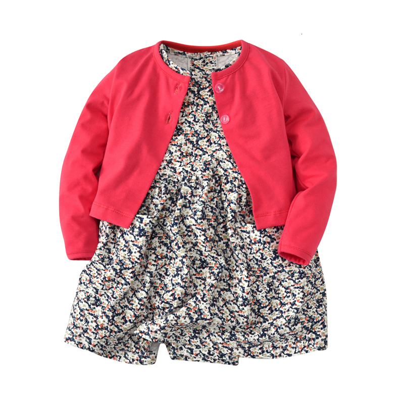 newborn baby girl long sleeve jacket red+romper dress floral 2 pcs clothing set 2018 baby Outfits Set for spring autumn clothes