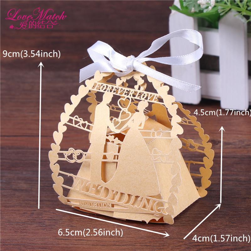 / romántico de novia y del corte del laser de caramelo rectángulo con la cinta favores de la boda y regalos del partido del bolso caramelo Decoración T200115