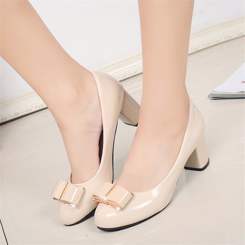 Dress 2019 Fashion Delicate Sweet Bowknot High Heel Shoes Mid Heel Shallow Mouth Women Pumps Cheap Sale