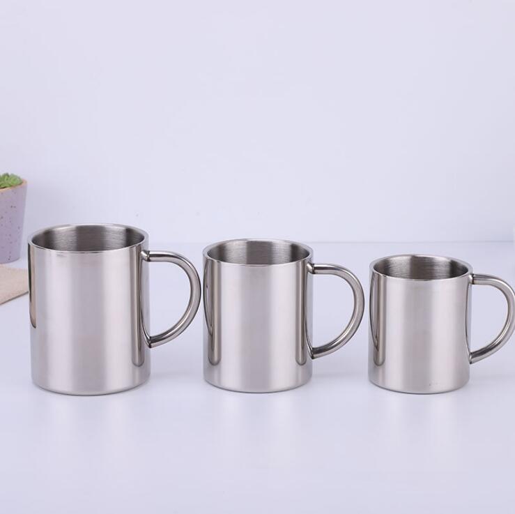 senderismo jarra de cerveza 220 ml taza de t/é//leche latte taza de acero inoxidable aislada con asa para viajes plata 2 tazas de caf/é de acero inoxidable