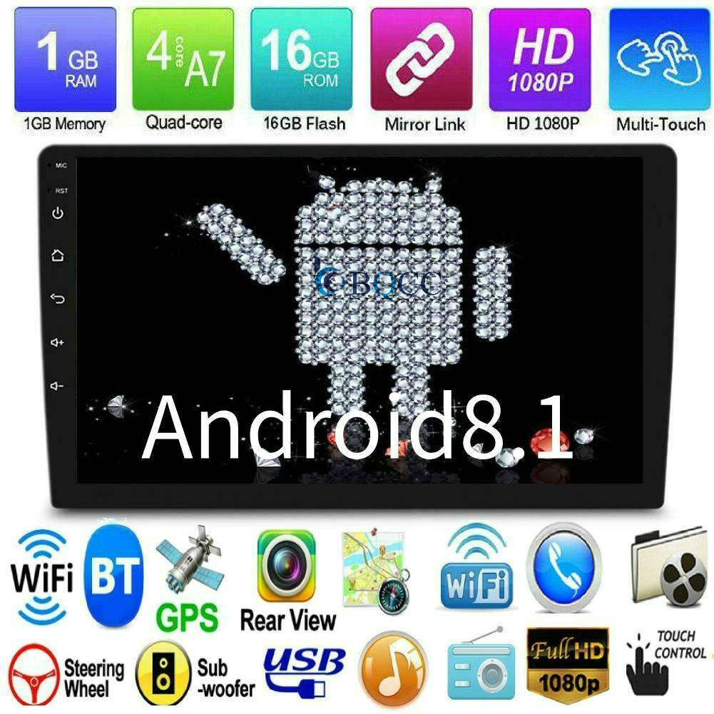 """10.1/"""" Double DIN Car Android 8.1 Stereo Radio Auto Player 4G WIFI GPS Nav 4-Core"""