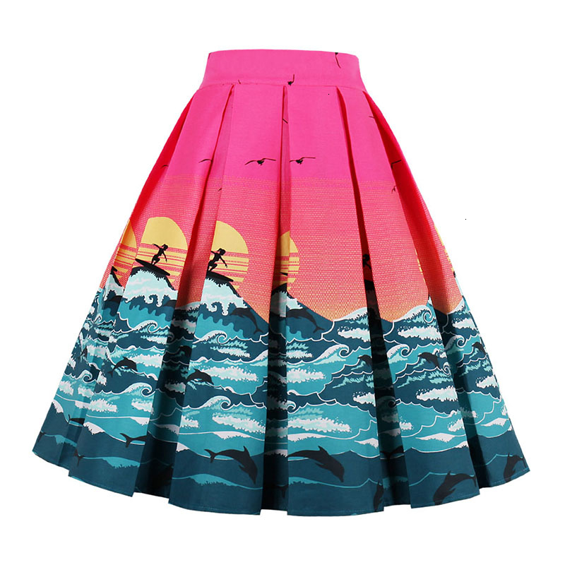 Kostlish Retro Print Flower Summer Skirts Womens High Waist Vintage Skirt Elegant A-Line Midi Women Skirt Plus Size XXL 22 (77)