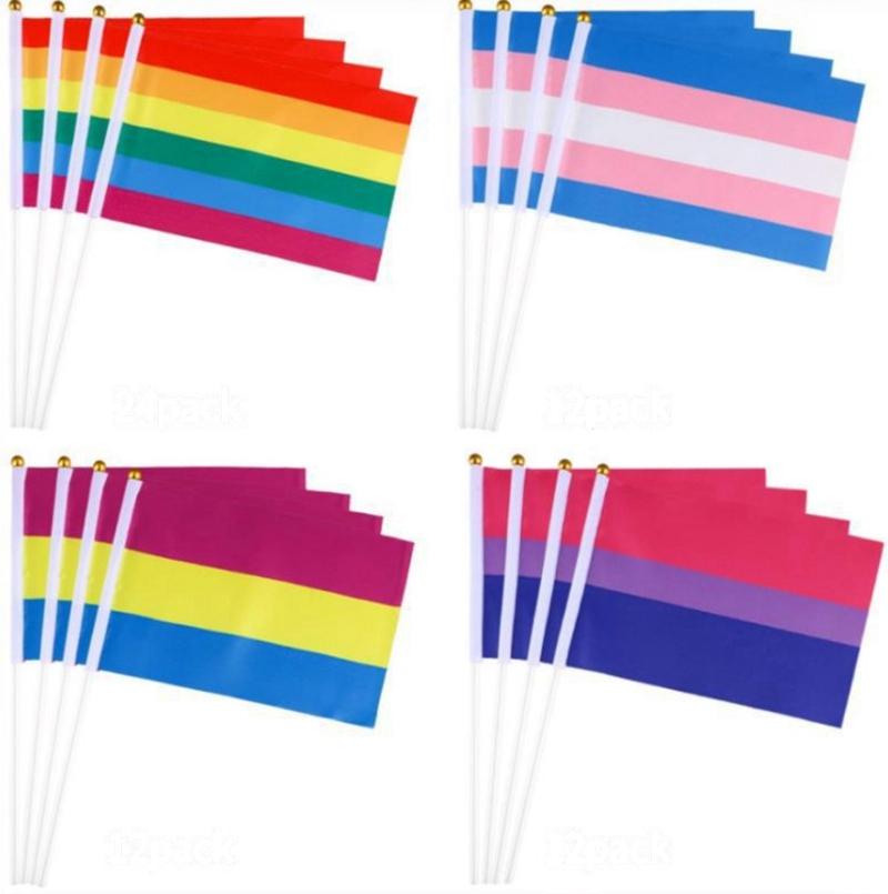 10 PCS HANDHELD DESKTOP RAINBOW FLAGS GAY PRIDE LGBT HAND WAVING SMALL FLAG UK