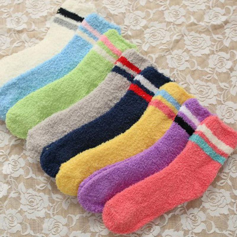 WOMEN/'S Fuzzy Crew Calzini Morbidi Inverno caldo colore solido 6 PAIA