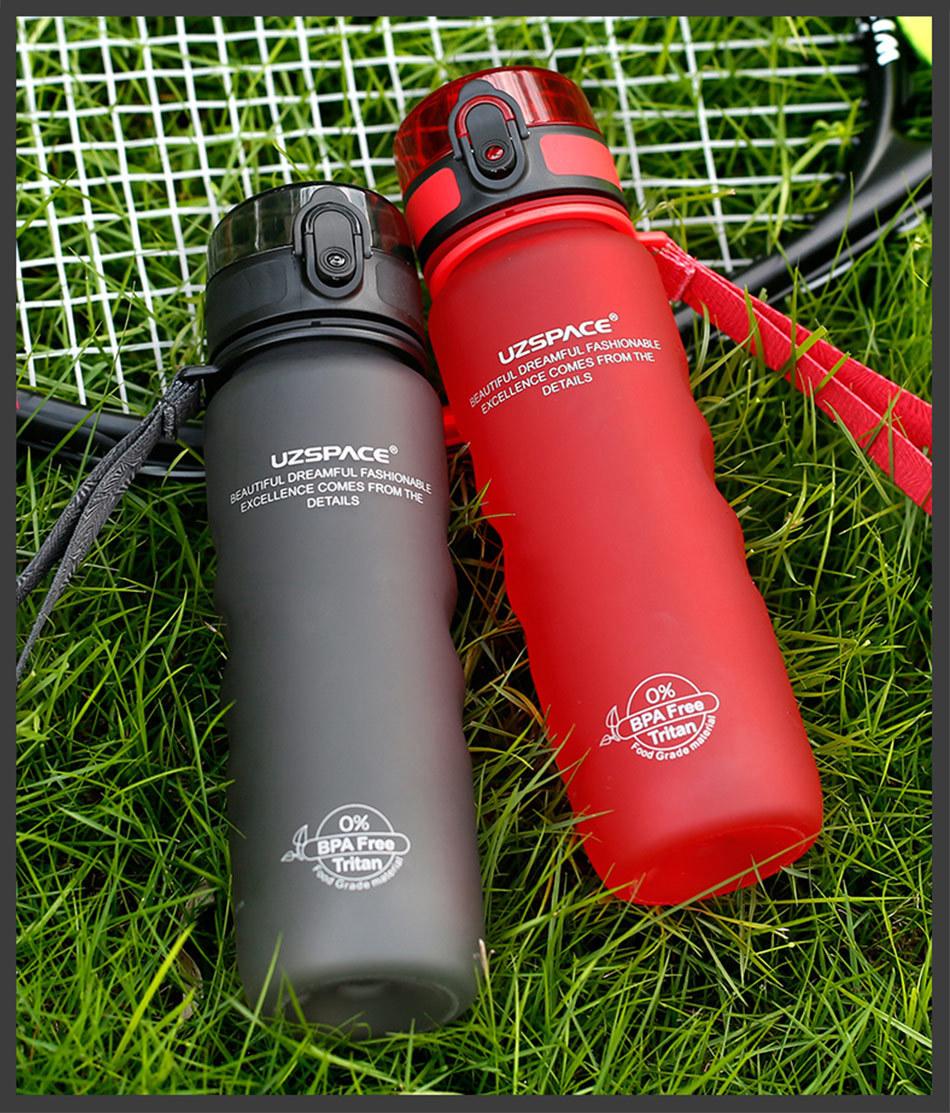 UZSPACE 0%BPA Plastic Sports Water Bottles Portable Travel Outdoor Cycling Drink Fruit protein Shaker My tea bottle 500ml 950ml_16