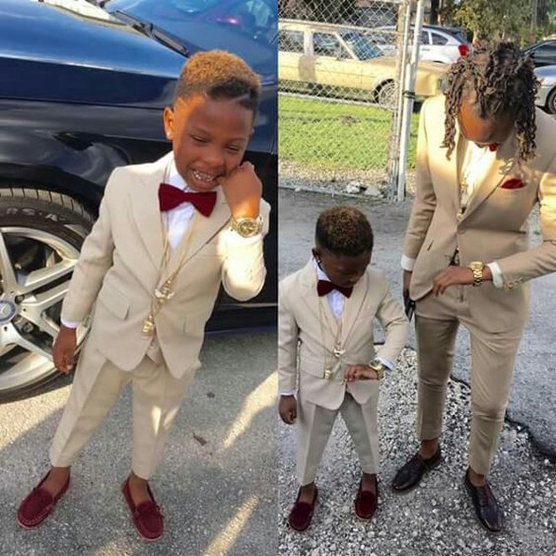 Ring Bearer Boy's Formal Wear Tuxedos Shawl Lapel One Button Children Clothing For Wedding Birthday Party Kids Suit Boy Outfits Set (Jacket+Pants+Bow)
