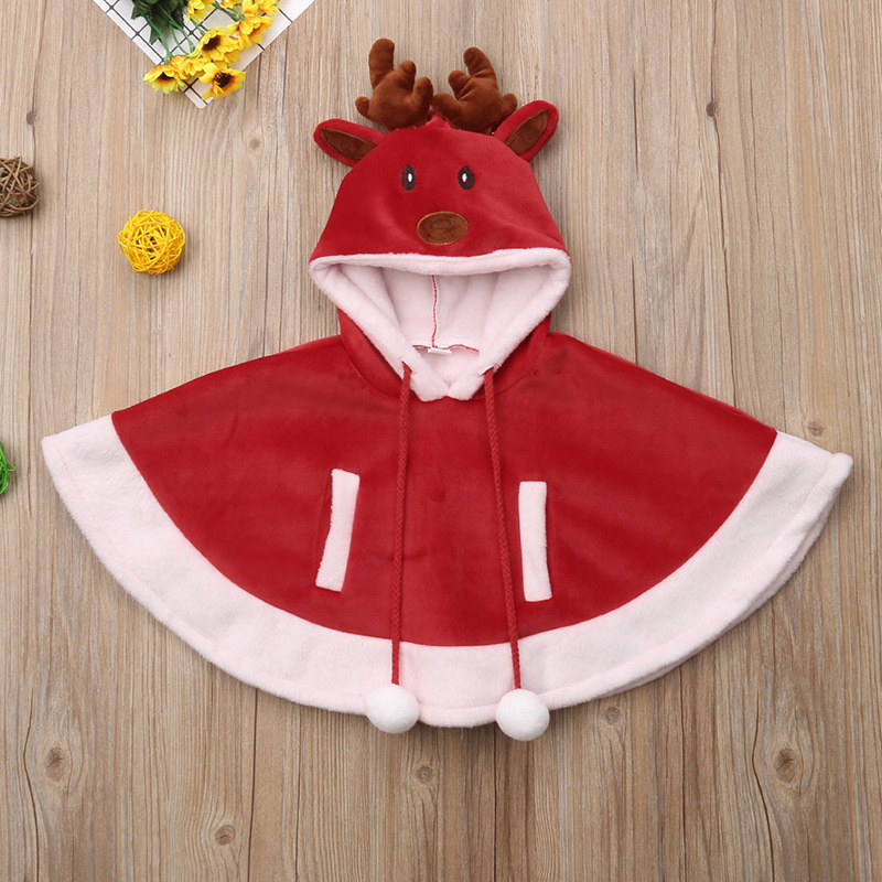 Xmas Reindeer Hooded Cloak Fancy Cape Poncho Party Coat Jacket for Baby Girl Kid