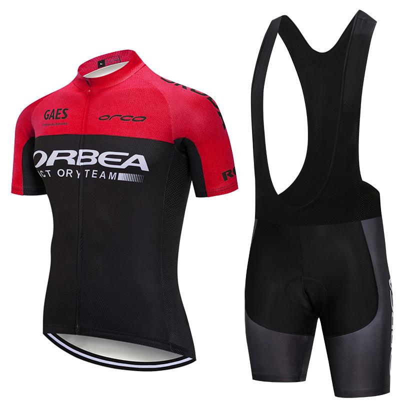 2019 Team Orbea Cycling Jersey 20d Gel Pad Bavaglino Pantaloncini Ropa Ciclismo Quick Dry Pro Abbigliamento da ciclismo Tuta da bici estiva da uomo