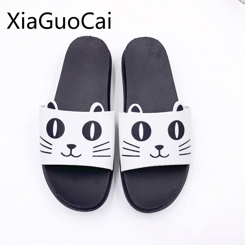 Soft Soled Men Women Summer Slippers Cute Cat Non-Slip Indoor Outdoor Couple Household Bathroom