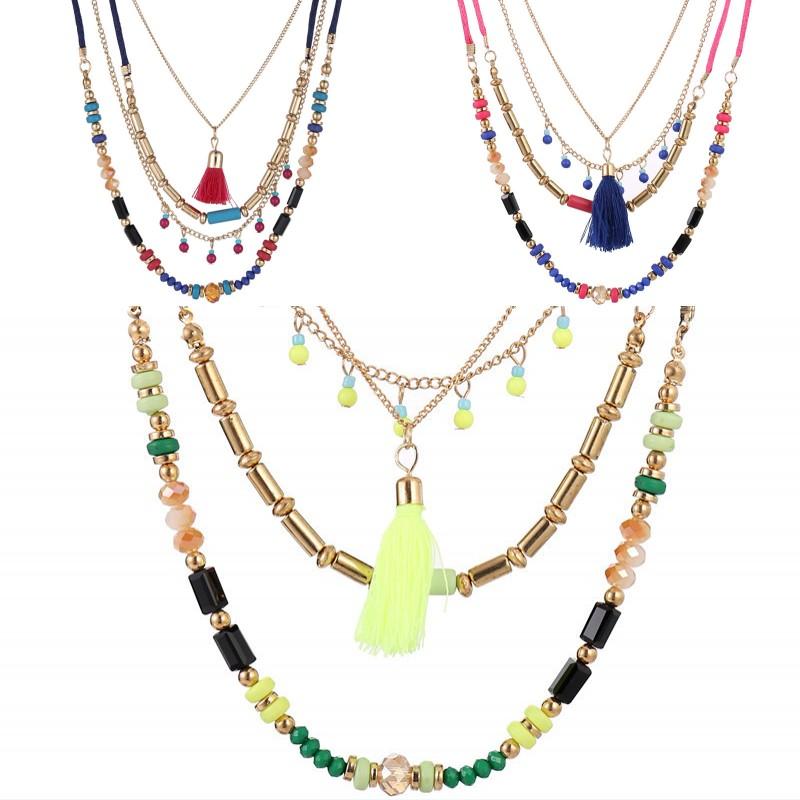 couche de multiples petit collier chaîne de perles collier de pièces.