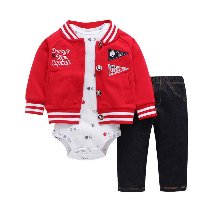 newborn baby clothes long sleeve letter embroider coatjacket+romper+pants 3PCS clothing set for 0-24M baby boy girls outfits