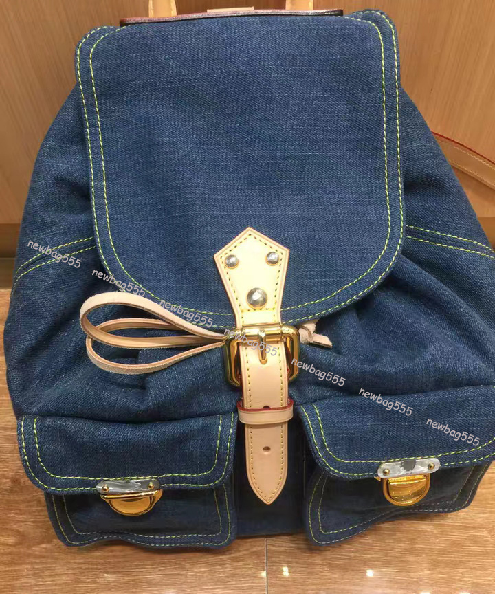 2019 newest designer backpack bag women famous brand vintage denim backpack men cowhide rim patchwork backpack handle handbag trave bag 4406