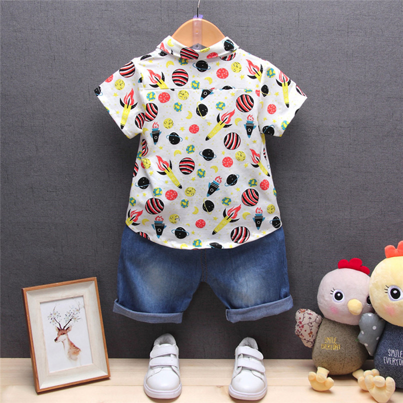 2PCS Baby Boys Sets Newborn Infant Baby Boys Short Sleeve Rocket Print T-shirt Tops+Denim Pants Sets Baby Boys Clothes M8Y16 (2)