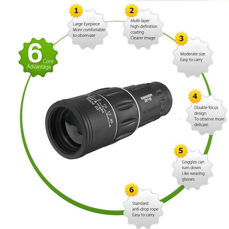 16X52 Dual Focus Telescope Lens HD Zoom Optical Telephoto Lens Universal for Smartphones Outdoor Camping Fishing With Tripod (9)