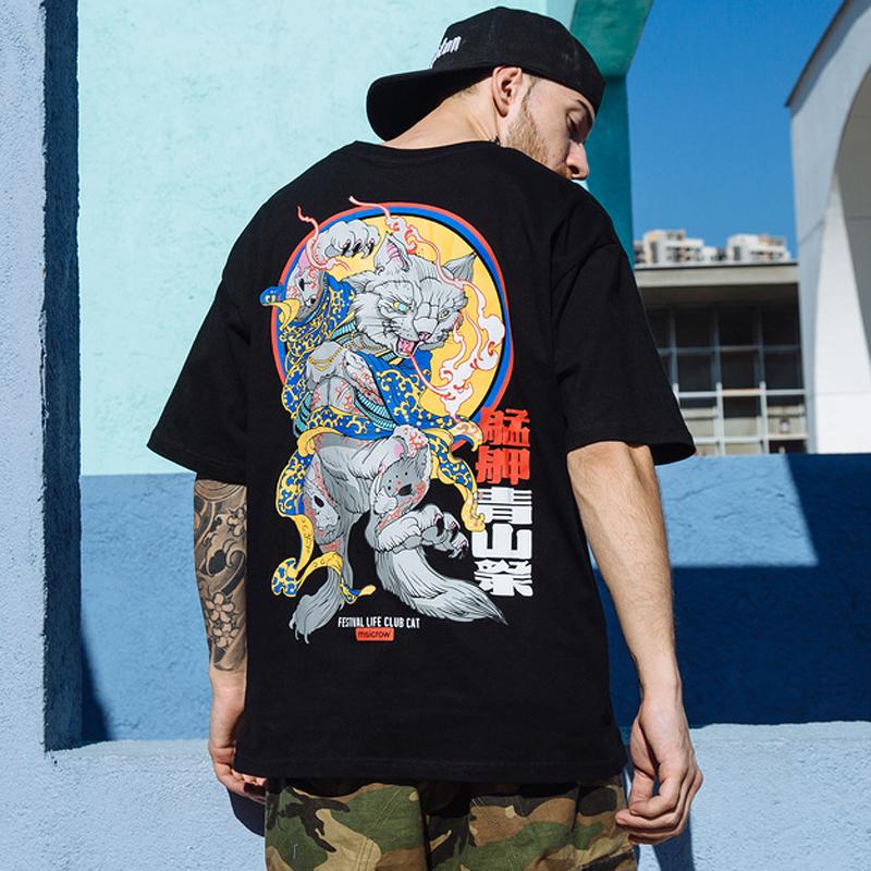2019 Men Hip Hop T Shirts Harajuku Japanese Anime Evil Cat Print T-shirt Streetwear Summer Tshirt Short Sleeve Tops Tees Cotton C190416