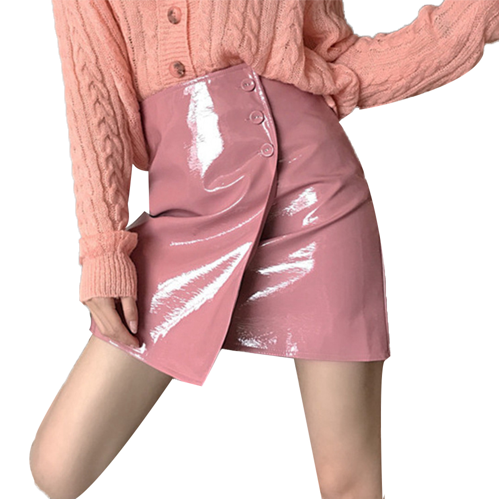 51a3998faa Patent Leather Skirts Women Buttons Smooth Surface Waterproof Shining  Fashion Harajuku Skirt