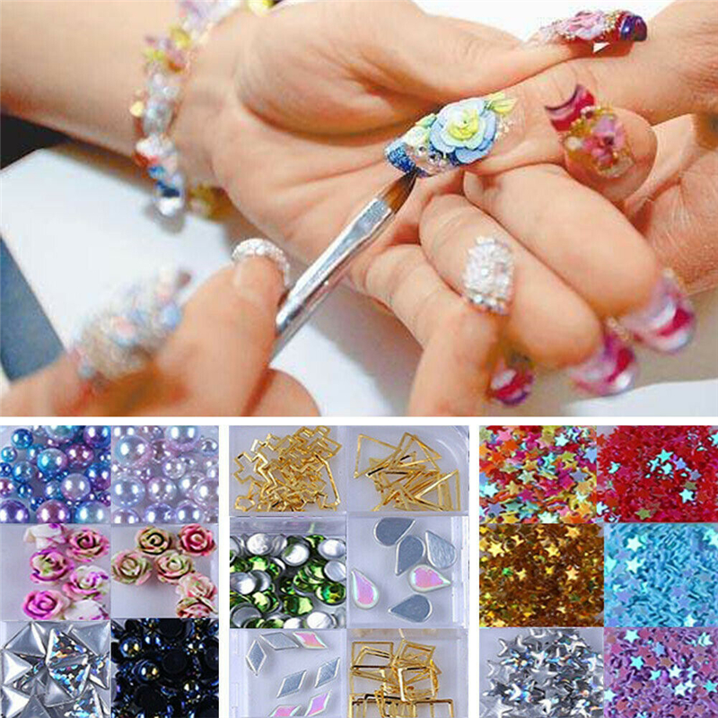 Nail Art Roue 3D strass Glitter Gems Décoration Cristaux Dos Plat Perles