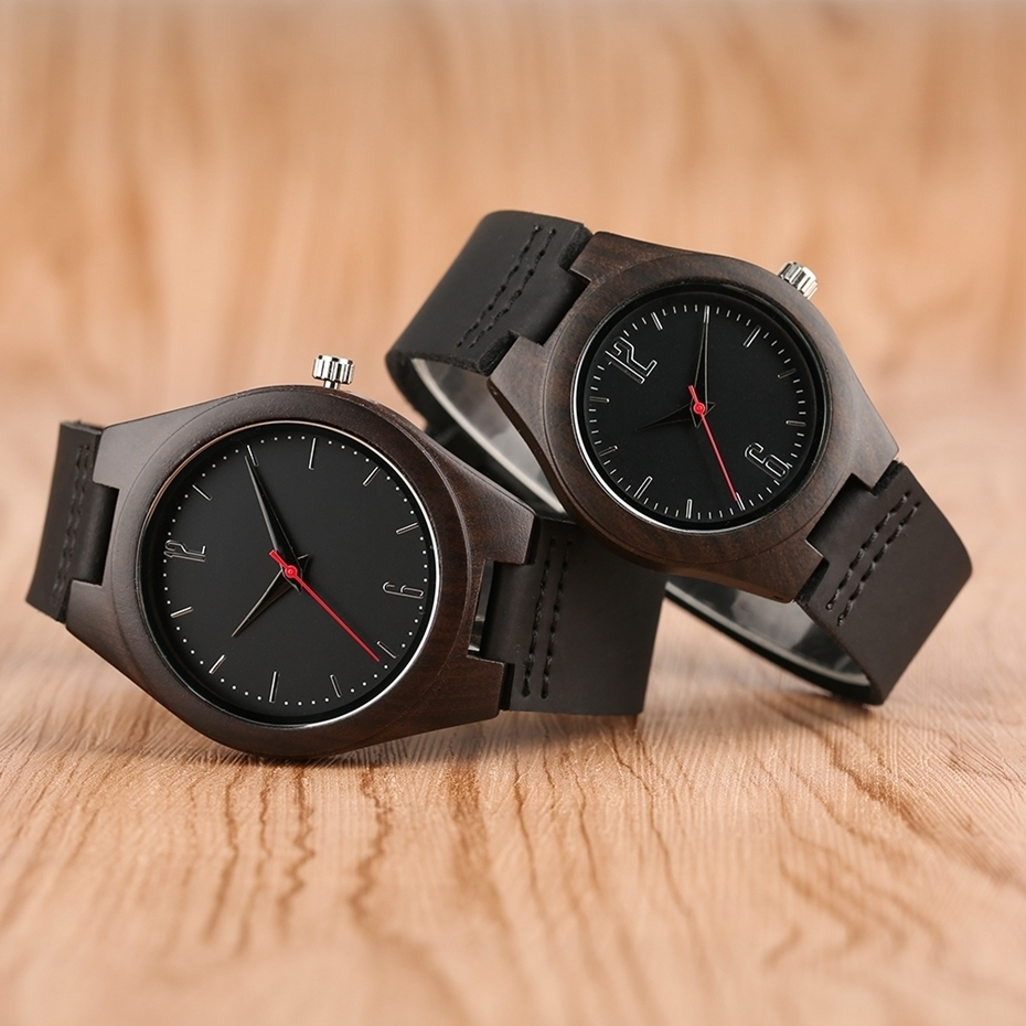 Lovers Gifts Luxury Royal Ebony Wood Watch Mens Fashion Wooden Women Dress Hour Clocks Soft Genuine Leather Relojes Wristwatches 2018 (1)