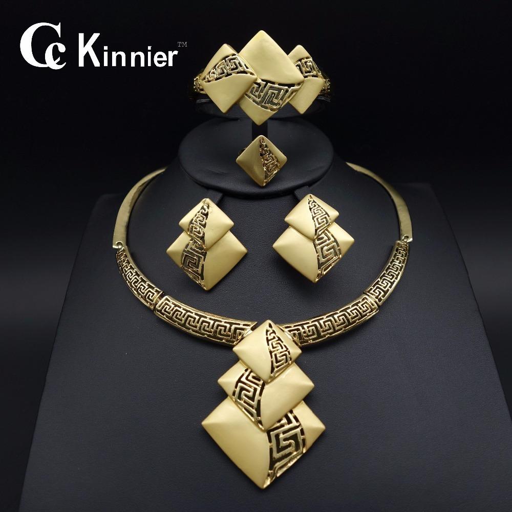 Nueva moda Conjuntos de joyería nupcial Dubai Gold-color traje Gran conjunto de joyas de diseño Boda nigeriana Beads africanos Conjuntos de joyería J 190513