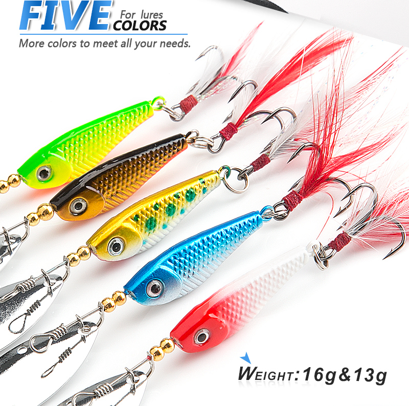 DONQL Spinner Metal Spoon Fishing Lure 13g 16g Sequin Artificial Wobbler Fishing Bait With Strong Treble Hooks Mepps Lures (11)