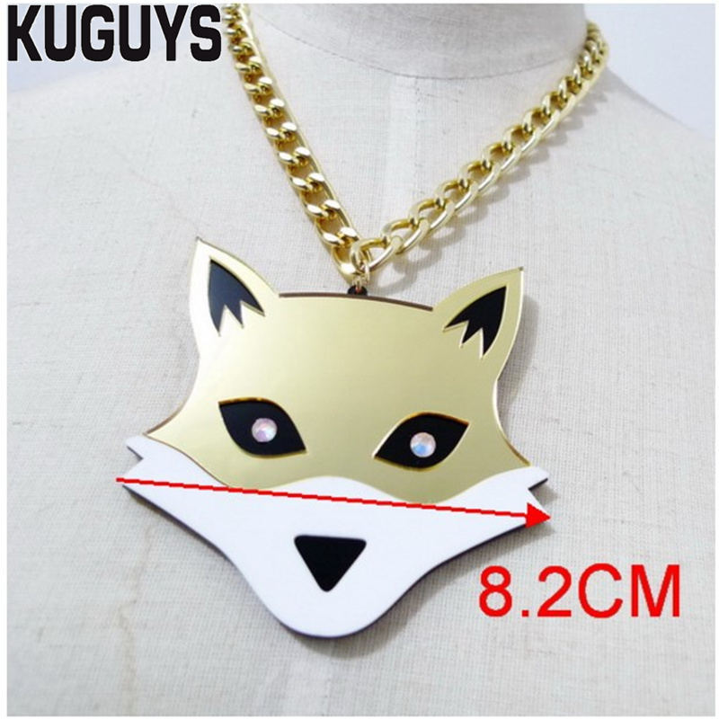 KUGUYS Trendy Gold Fox Large Pendant Necklaces for Women Fashion Womans Acrylic Necklace Link Chain