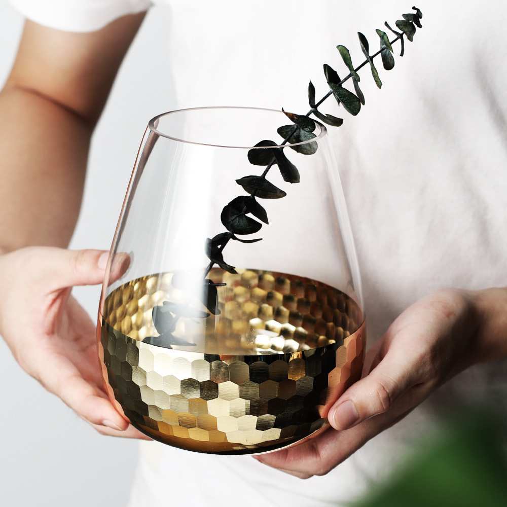 European Hand Crafted Glass Featuring Transparent Flower Arrangement Water Bottle Home Decoration Wedding Plant Decorative Vase Q190601