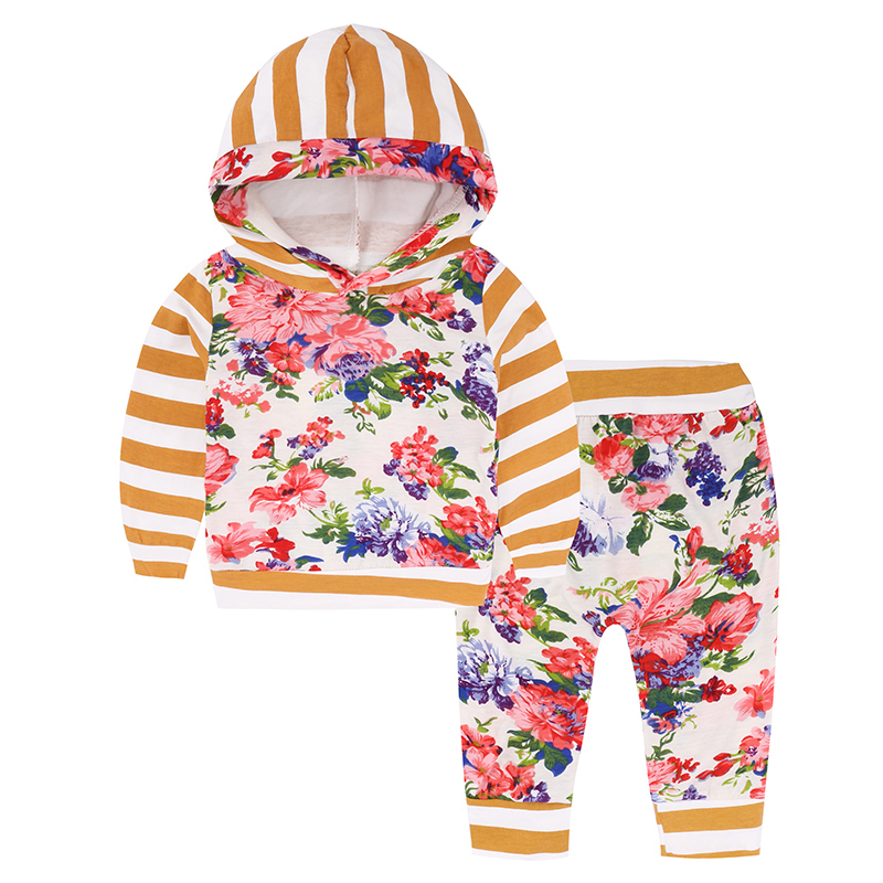autumn baby girl clothing set long sleeve hooded coat tops stripe+floral patchwork+flower pant unisex 2 pieces outfits cotton