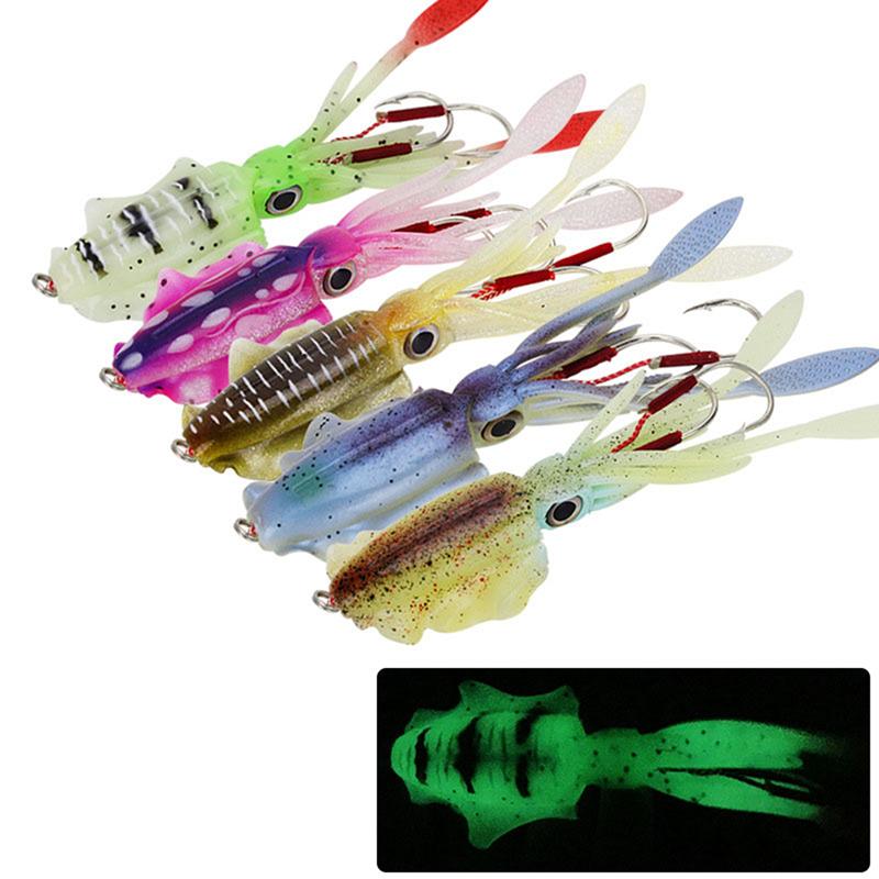 2 Stück Leuchtende Tintenfisch Jig Haken Tintenfisch Salzwasser Fischerei