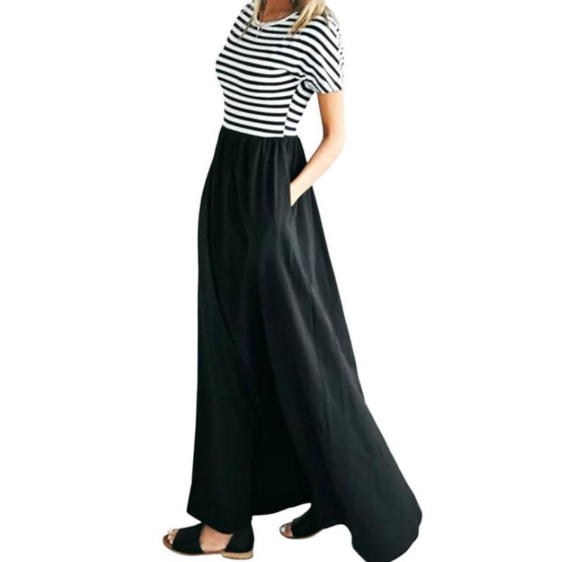Summer Striped Dress Robe Mujer Short Sleeve O-neck Long Maxi Dress Plus Size Beach Loose Casual Women Dresses Pockets Xxl Gv577 Y19050905