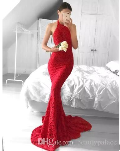 New 2017 Mermaid Lace Prom Dresses Sexy Open Back Halter Red Evening Party Gowns Vestidos de fiesta Celebrity Party Holiday Dresses