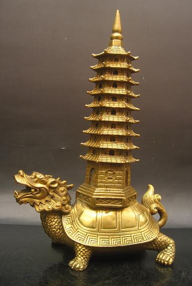 Vintage Chinese Buddhism Zinc Alloy Wen Chang Tower Stupa Pagoda Statue