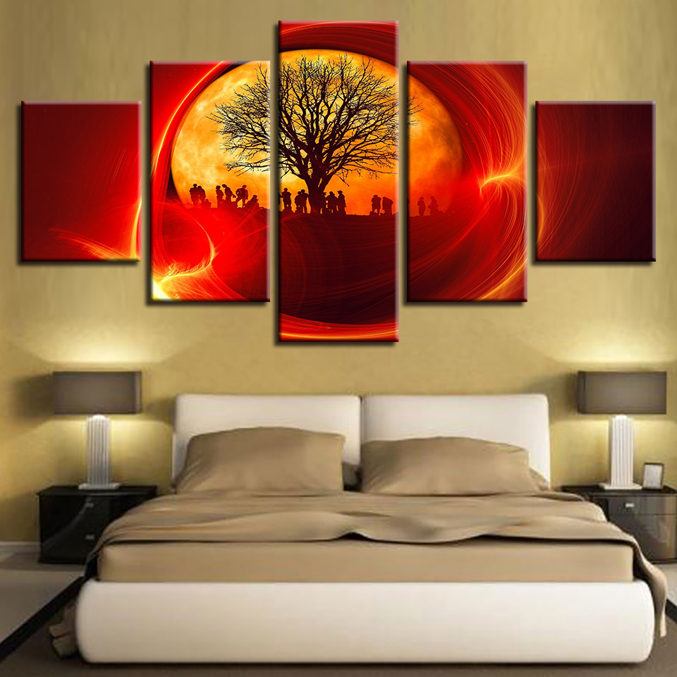 Modular Wall Art Tree And Soldier Red Sun Canvas Painting Abstract Landscape Pictures HD Printing For Living Room Decor