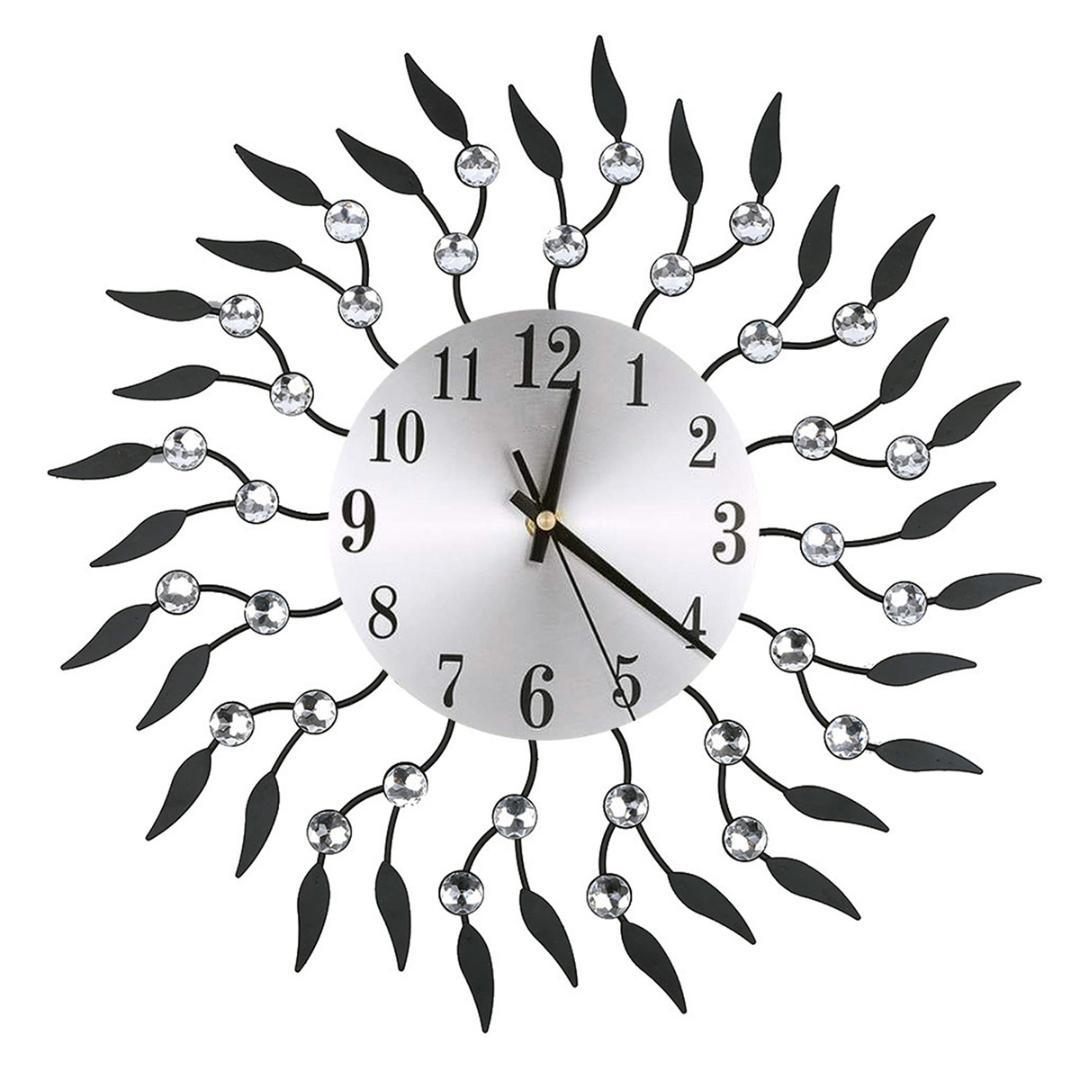 Grosse Horloge Fer Forgé horloge murale créative rétro diamant en fer forgé diamant horloge murale  fleur creative salon muet décoration sans batterie