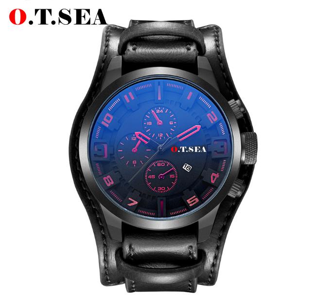 Cool Blue Ray Glass Leather Watch Men Military Sports Quartz Wristwatch