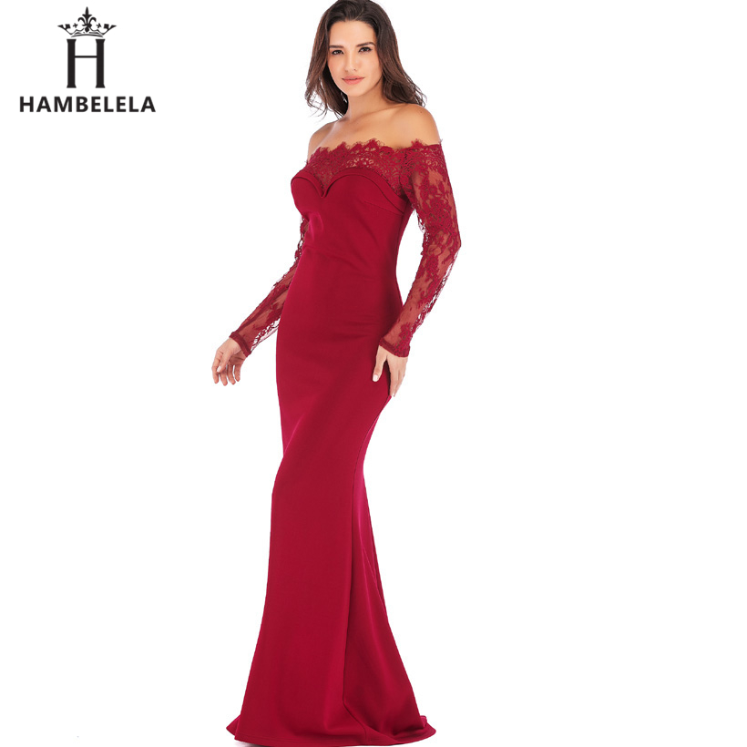 HAMBELELA Robe De Soiree Longue Long Sleeve Mermaid Evening Dresses Formal Evening Gowns China Vestido Longo Bodycon Lace Dress (12)