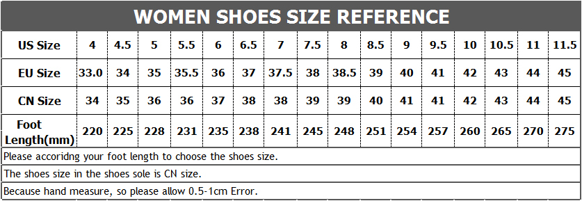 Women Shoes Size Chart