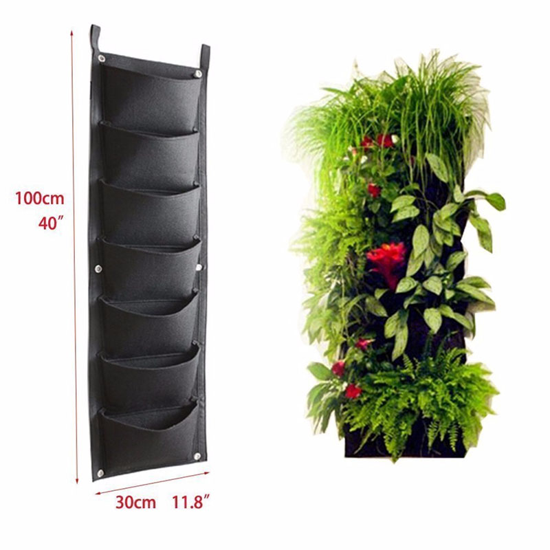 MagiDeal Sac /à Plantes 7 Poches Mural Jardin Vertical Pot /à Suspendre Int/érieur Ext/érieur