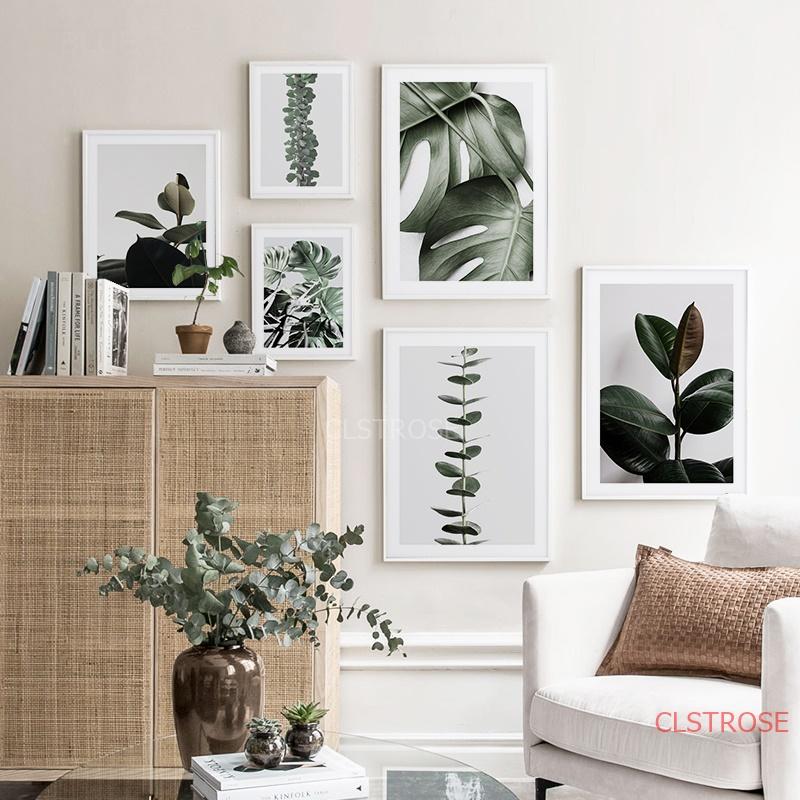 Moderne Drucke Pflanze Blatt Kunst Poster und Drucke Gr/üne Wandkunst Leinwand Gem/älde Kunst Wandbilder F/ür Wohnzimmer 50x70cm Kein Rahmen