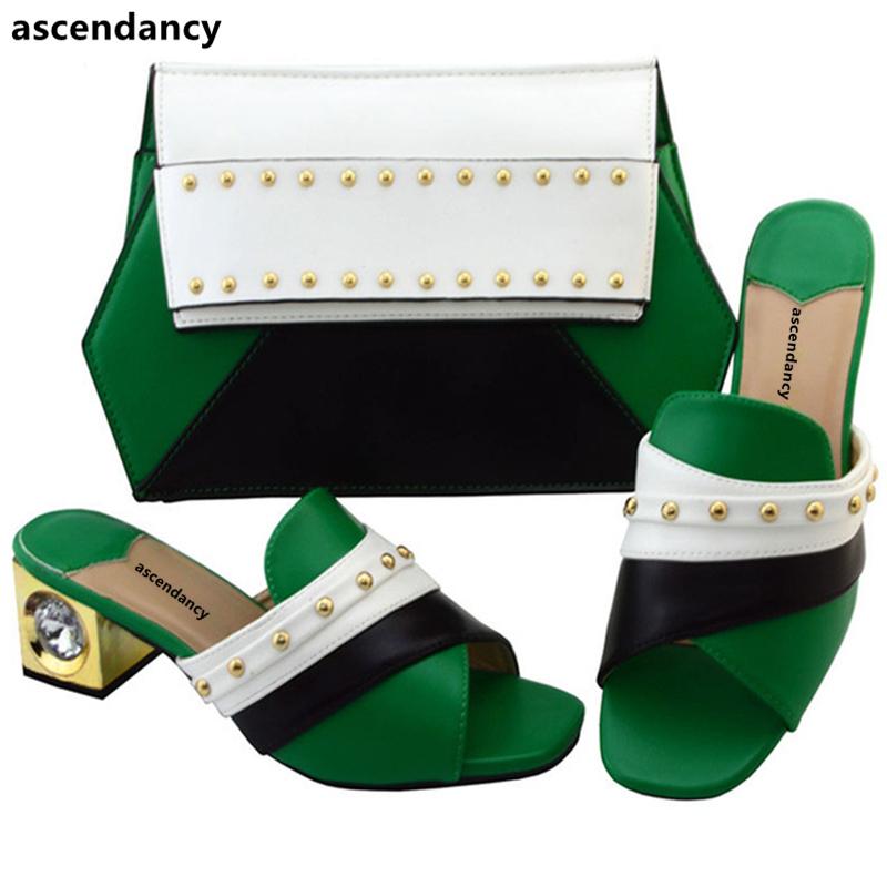Designer scarpe da donna di colore verde di arrivo nuovo colore e set di borse decorate con scarpe con strass e set di borse
