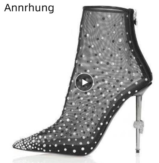 9 cm bottines femme en daim Rivet Bout Pointu Haut Massif//Talon Aiguille Bottines
