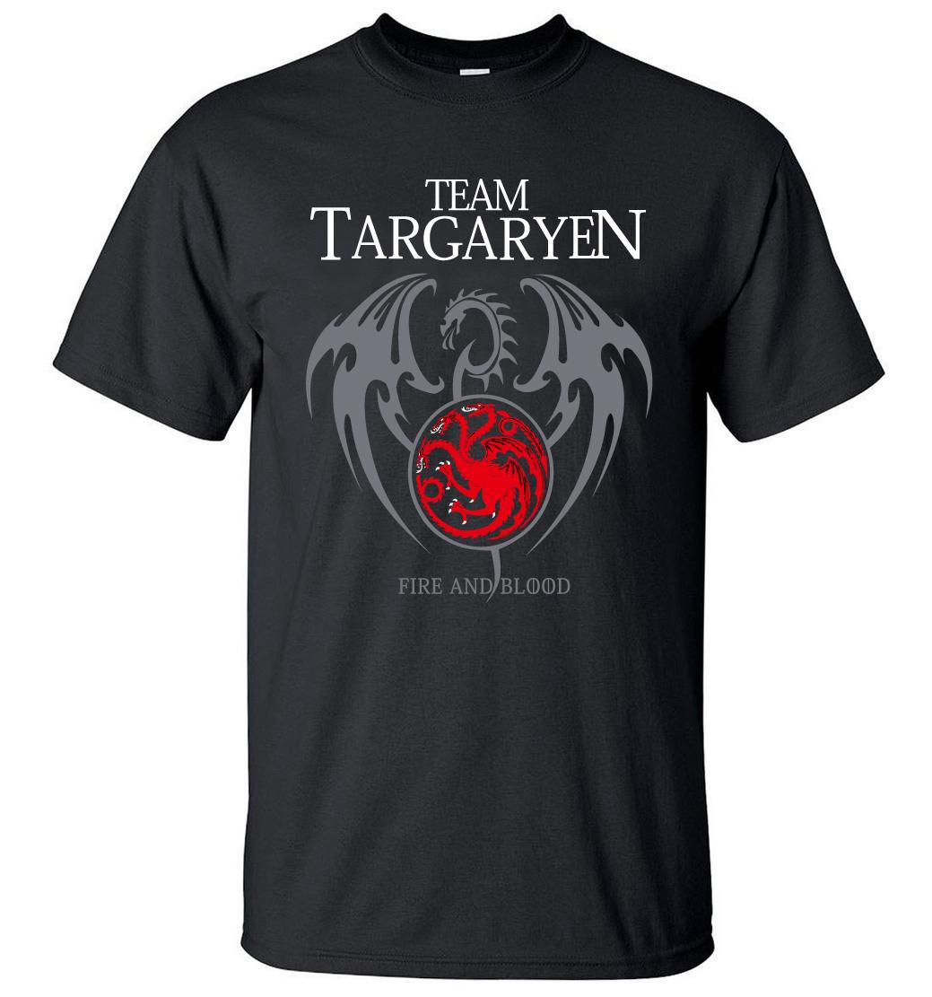 2019SummerMenShortSleeveShirt 100% CottonMale T-Shirts Game of Thrones Targaryen Fire BloodMen TShirt Brand-Clothing