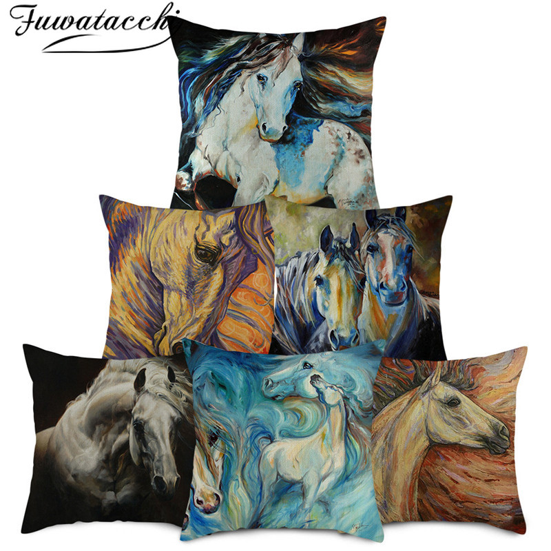 """18/""""Art Home Decorative Forest Animal Couch Cushion Cover Zebra Tiger Pillow Case"""