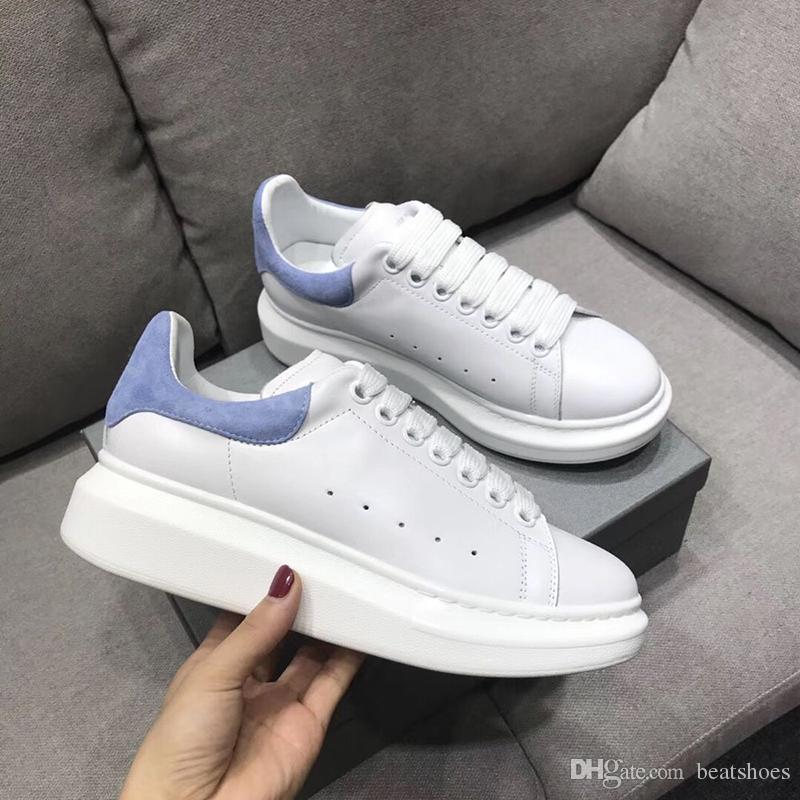 2019 Designer Shoes NEW GREY Shine Platform Shoes Mens Trainers White Leather Suede Sports Sneakers Flat Casual Party Wedding Shoes US 11