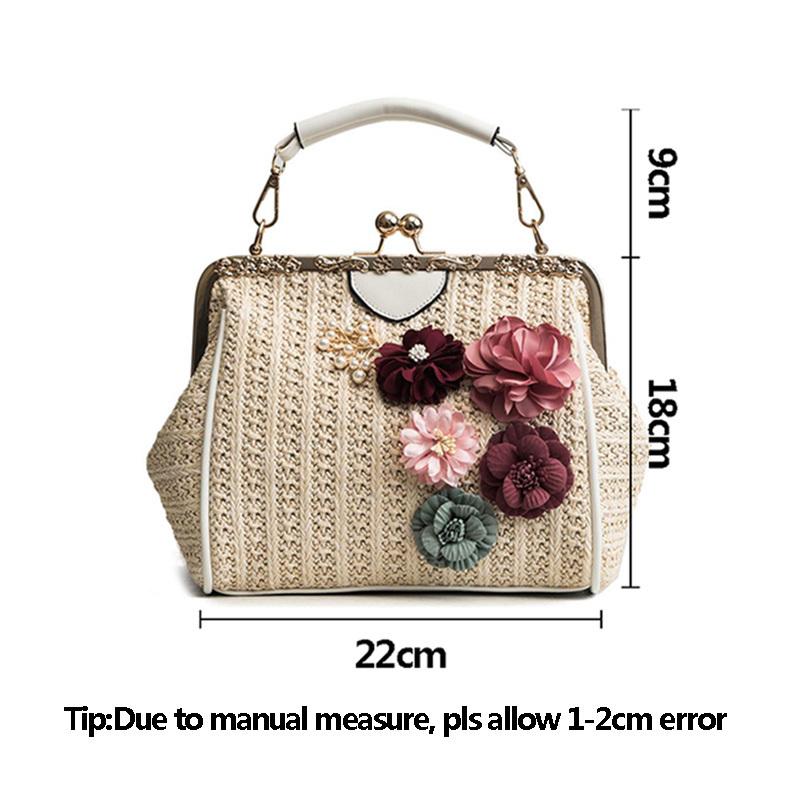 Women Pearl Handbag INS Popular Female Summer Flower Straw Bag Lady Fashion Shoulder Bag Travel Beach Woven Crossbody Bag SS7220 (15)
