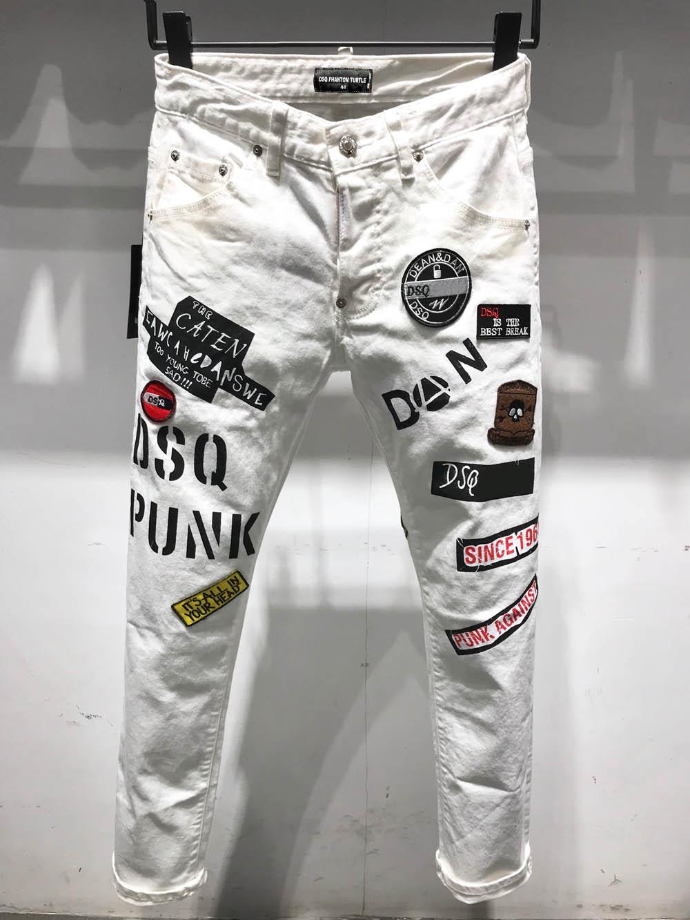 DSQ PHANTOM TURTLE Classic Fashion Man Jeans Hip Hop Rock Moto Mens Casual Design Ripped Jeans Distressed Skinny Denim Biker DSQ Jeans 6929