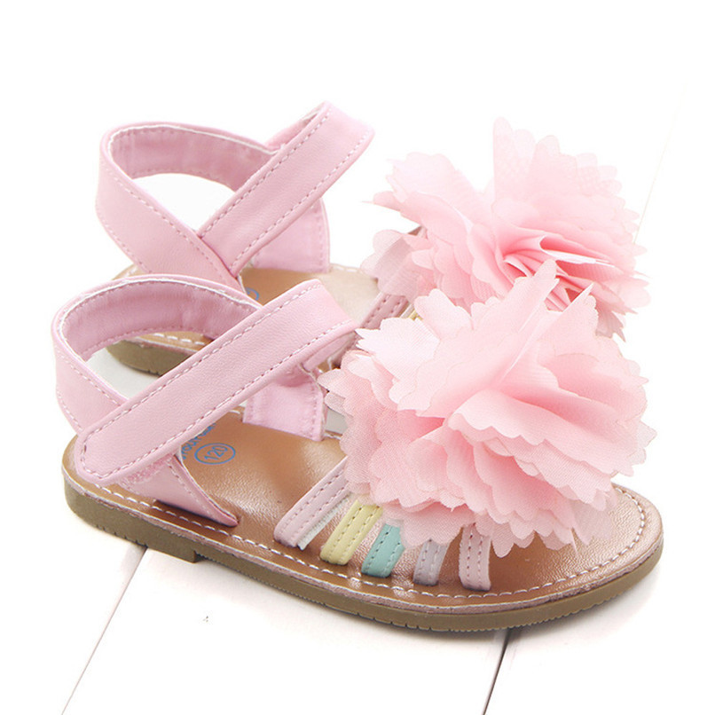 Summer Baby Girls Sandals Fashion Children Kids Baby Girls Solid Floral Soft Sole Anti-slip Princess Shoes Girl Sandals M8Y12 (2)