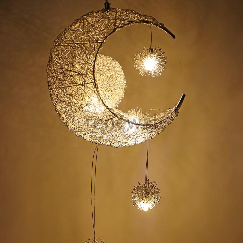 JINWELL Moon and Stars L/ámpara Luna Luz de Techo LED L/ámpara de Techo L/ámpara 24W LED L/ámpara de Techo L/ámpara de Techo del Dormitorio Infantil Luna Infantil L/ámpara de Techo para el Dormitorio de la