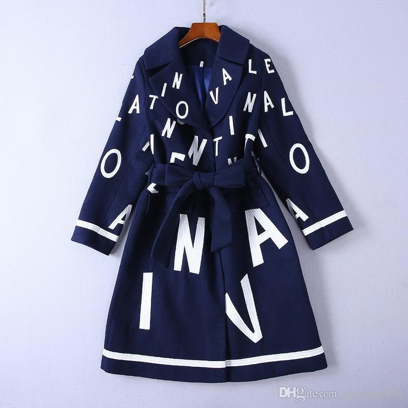 2019 Designer Women's Long Coat Milan Runway Navy Blue Long Sleeve Lapel Neck Letter Embroidery Adjustable Waist Long Coats Women V22
