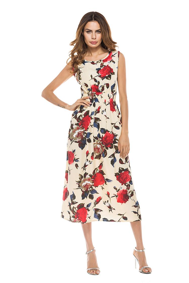 Long Summer Women Dress Sexy Vintage Print Floral Sleeveless Dress Female Casual Bohemian Beach Party Dresses Sundress