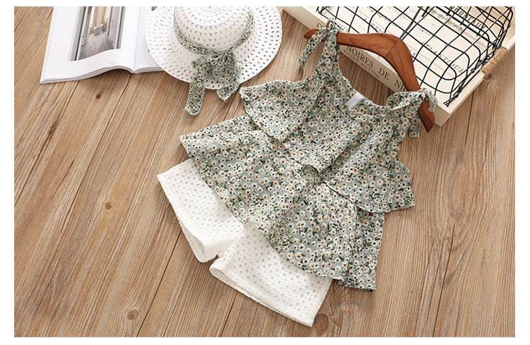 Chiffon Camisole Two Piece Suit Tong Suit Broken Flower Girl Two Piece Set Give Hats 0201